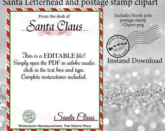 santa letterhead etsy