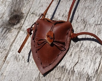 Leather Crystal/Charm Pouch with a Free Crystal