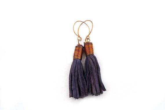 Tribal Tassel Dangle Earrings from Dark Grey Blue Leather and Copper