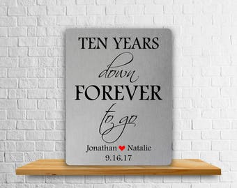 Ten Years Down Forever To Go, Aluminum Art Print, Metal Plate, Anniversary Plate, Personalized Anniversary Print, 10th Anniversary Gift, Tin