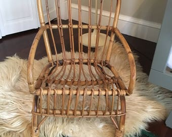 Vintage Mid Century Bamboo Rattan Child's Rocking Chair Franco Albini Style