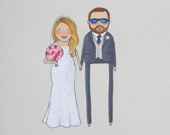 custom wedding portrait + one object | hand drawn, unique wedding gift for best friend, daughter, parent, wedding shower, bride, groom
