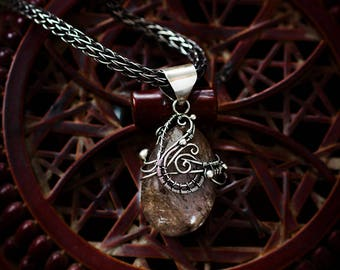 Silver jewelry jewel wire wrap wrapped gift for woman girlfriend presentord Floral Style rutile quartz pendant necklace