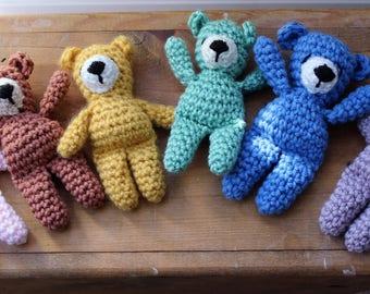 RTS Miniature Stuffed Bears, Tiny Teddy Bears, Crochet Amigurumi Bears, Newborn Photo Prop, Baby Shower Gift, Teddy Bear Nursery, Baby Bear