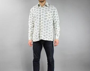 VINTAGE Mens White Floral Shirt - 1970s Button Down Collared Perma Press Shirt - Hippie men shirt - SIZE medium M - mens top - summer top