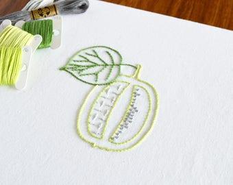 Carved Kiwi hand embroidery pattern, modern embroidery, fruit design, embroidery patterns, embroidery PDF, PDF pattern