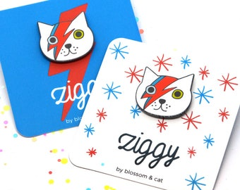 Enamel Cat Pin · Ziggy Cat Brooch · Ziggy · Bowie Cat Pin · Bowie Cat Pin