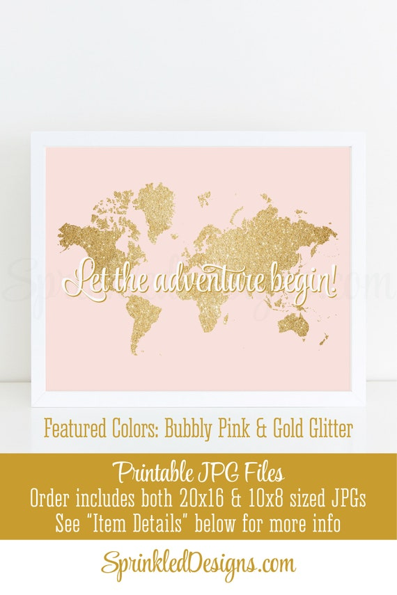 Let the adventure begin map sign bubbly pink gold glitter world il570xn gumiabroncs Choice Image