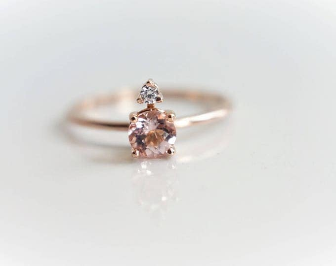 Two-Stone Peach Pink Morganite and White Sapphire 14k Morganite Accented Ring, Morganite Ring, Morganite Engagement Ring
