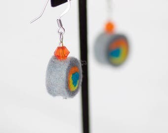 Felt earrings - wool bead earring orange - handmade swirl bead - eco friendly - Lightweight earring - crystal bead - wearable art - trendy