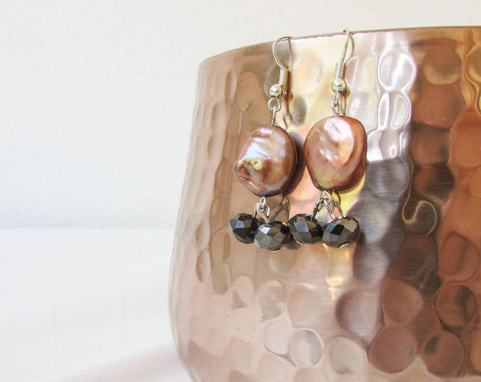 Bronze freshwater pearl earrings, handmade in the UK