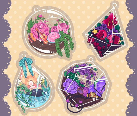 This listing is for a terrarium keychain based on the characters from Steven Universe!  Charms are clear acrylic with attached keyring. Theyre double sided and 2 inches long. Original artwork was created digitally.  There are 4 different designs: Steven, Pearl, Amethyst, or Garnet.