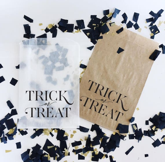 Trick or Treat Halloween Favor Bags -Kraft or Glassine- Halloween Party Favors -Trick or Treat Bags