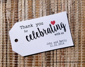 Thank You for Celebrating Tags Wedding Favor Tags Small Favor Tags Gift Tags Choose Quantity