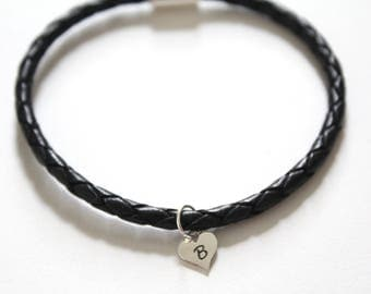 Leather Bracelet with Sterling Silver B Letter Heart Charm, Silver Tiny Stamped B Initial Heart Charm Bracelet, Letter B Charm Bracelet, B