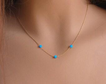 Gold Opal Necklace, Opal Bead Necklace, 3 Opal bead Necklace on Gold filled necklace ,Ball Opal Necklace ,Blue Opal Beads Necklace .
