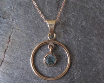 RESERVED - Layaway 2nd and Final payment - Antique Edwardian Blue Zircon Pendant in 10k Pink Gold with 14k Rose Gold Chain  - JL483