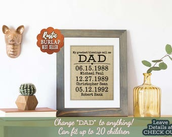 Burlap Art Father's Day Gift From Daughter to Father Gift, Personalized Dad Gift, Gifts for Dad, Daughter to Dad, Fathers Day Photo Frame