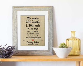 Personalized 25th Anniversary Gift for Parents Anniversary Gift, Marriage Stats Story, 25th wedding anniversary gift for couples gift