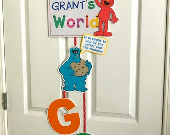 Sesame Street Themed 3-Tiered Welcome Sign - Elmo's World - Sesame Street - Welcome Sign - Door Sign - Custom Order Available