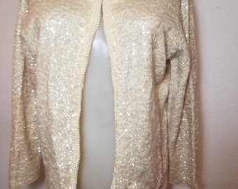FREE  SHIPPING   1950  Sequin  Pearl  Cardigan