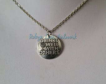 Silver Drinks Well With Others Disc Charm Necklace on Silver Crossed Chain or Black Faux Suede Cord with Wine Glass. Alcohol, Gift, Partying
