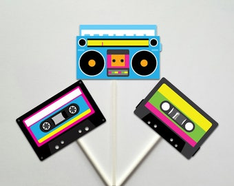 80's Cupcake Toppers, Neon 80's Cupcake Toppers, Cassette Tape Cupcake Toppers, Boom Box Cupcake Toppers, 812171128PM