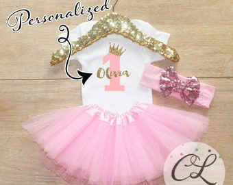 First Birthday Tutu Bodysuit Outfit / Baby Girl Clothes 1 Year Old Outfit One Birthday Set 1st Birthday Girl Outfit Bow Crown Princess 067