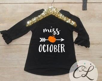 Miss October Pumpkin Shirt / First Halloween Baby's 1st Halloween Pretty Little Pumpkin October Birthday Girl Shirt Toddler Outfit  256