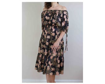 1970s bardot dress summer dress off shoulder dress boho dress 70s dress peasant dress size 10 12 dress off shoulder dress gypsy dress 70s