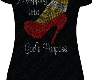 Stepping Into God's Purpose Rhinestone T-Shirt, Rhinestone, Christian Shirt, Religious Shirt, Shirt, Christian