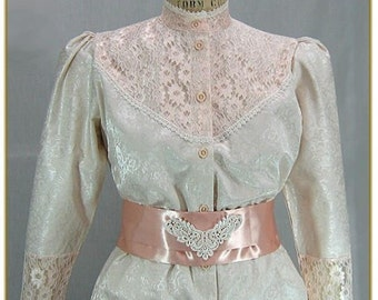 Rose Lace Brocade Victorian Blouse