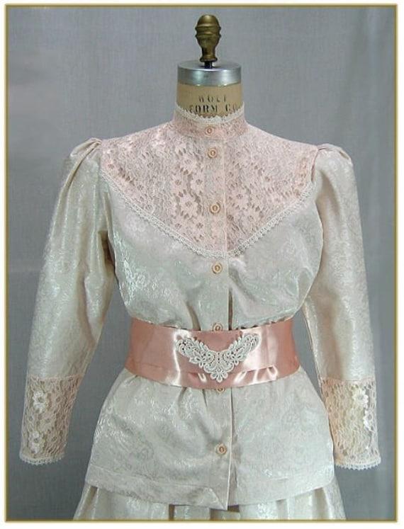 Edwardian Blouses | White & Black Lace Blouses & Sweaters Rose Lace Brocade Victorian BlouseRose Lace Brocade Victorian Blouse $59.00 AT vintagedancer.com