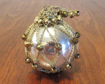 "Vintage 1940s 1950s Shiny Brite glass Christmas tree ornament deocration silver gold braid beads 2 1/2"" diameter (11417)"