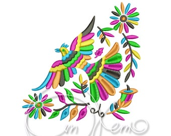 MACHINE EMBROIDERY DESIGN - Otomi Bird corner