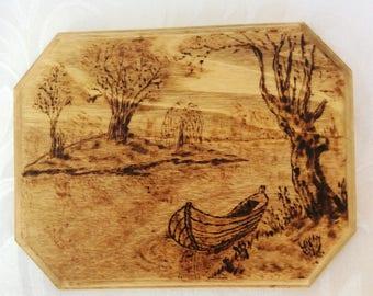 "Serenity, Woodburned Landscape, 6""x4"" (15cm x 10cm)"