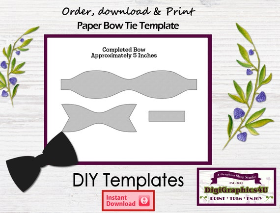 Paper Bow Tie DIY Printable Template   Instant Download