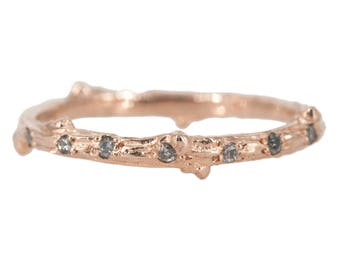 Twig ring with scattered salt and pepper diamonds in 14kt gold