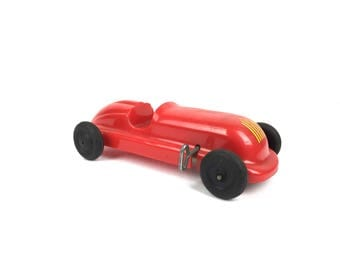 Saunders Tool and Die Plastic Wind Up Belly Tank Racer Toy Rare Saunders Tool and Die Company Aurora Illinois