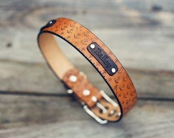 """1 1/4"""" wide Custom Leather Dog Collar, Personalized Leather Dog Collar, Large dog, Handmade personalized, number, Anchor Nautical, FREE Name"""