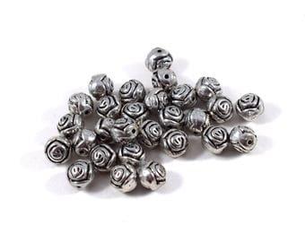 28 Round Antique Silver Metal Beads, Metal Beads, Silver Beads, 8mm Beads, Spacer Beads, Flower Beads