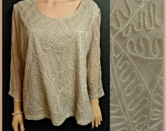 Jaques Vert Lace Evening Top Blouse Beige Fawn  Chain Stitch Quality Lined Semi Sheer Long Sleeves VGC UK Size 20