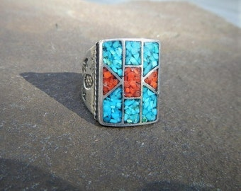 Navajo Sterling Silver Turquoise Coral Ring Channel Inlay Crushed Coral & Turquoise Vintage Biker ring Native American Southwest Size 8