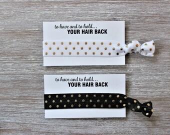 White Gold Polka Dots-Black Gold Polka Dots-Hair Tie