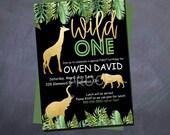 Printable WILD ONE Birthday Invitation -Wild One - animals - safari - 5x7