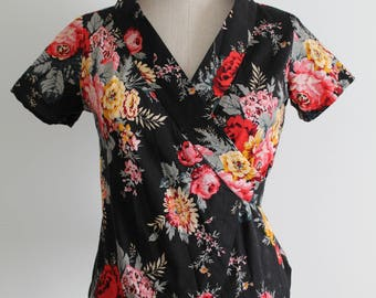 Asian Kimono 1930s Style Wrap Top Chinoiserie Blouse