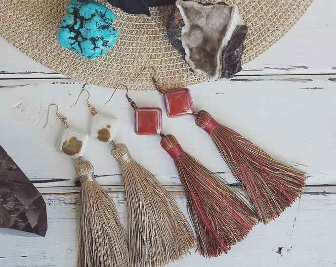 Old West Carpet Bag inspired Western tassel earrings