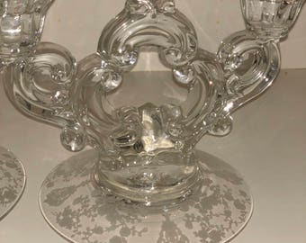 Vintage Etched Candle Holders