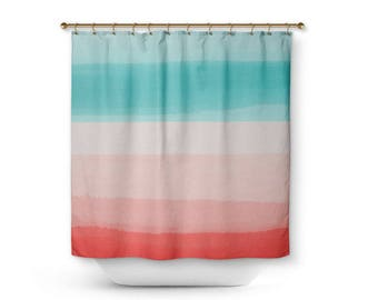 Shower Curtain Ombre Bath Coral Aqua Peach Home Decor Bathroom