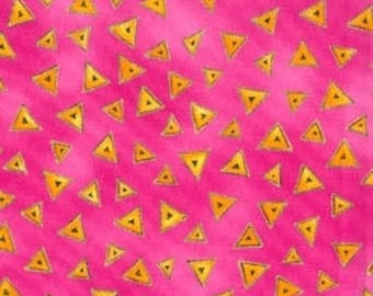 Laurel Burch LB Basics FAT QUARTERS Triangles on Pink Out Of Print